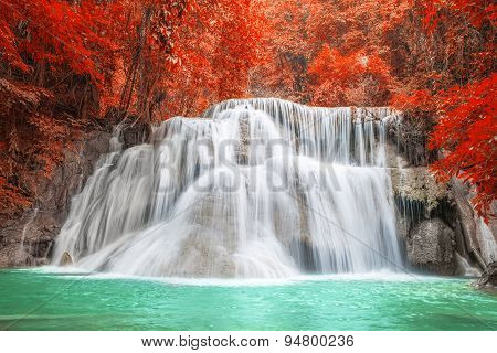Waterfall In Autumn Season At Kanchanaburi, Thailand