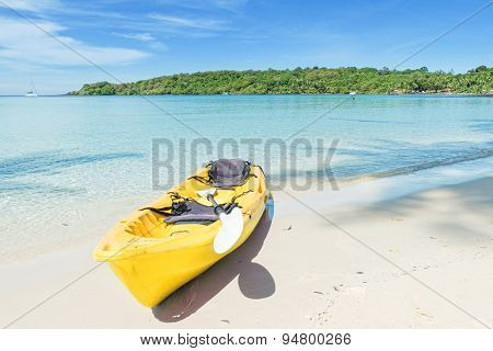 Summer, Travel, Vacation And Holiday Concept - Yellow Kayaks On The Tropical Beach, Phuket, Thailand