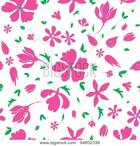 Vector Magenta Flowers Silhouettes Seamless Pattern