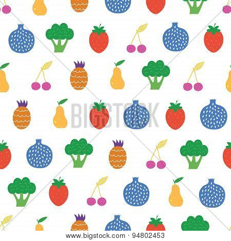 Vector Yummy Fruit Veggies Seamless Pattern