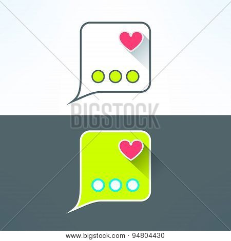 Vector simple chat icon with heart in modern flat design. Internet messenger application design elem