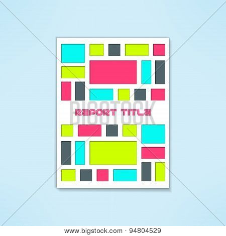Vector brochure template in modern bright design. Book cover with colorful rectangles. Flyer mockup