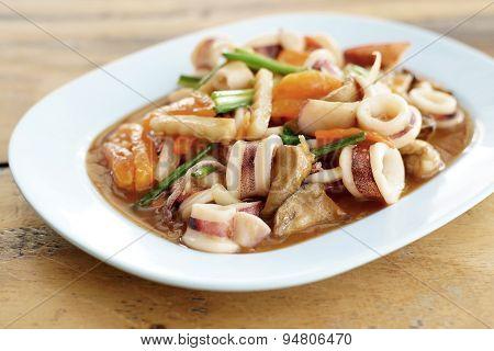 Thai Food, Stir Fried Squid With Salted Egg Yolk