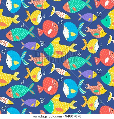 Seamless Pattern Of Different Kind Sea Multicolored Fishes