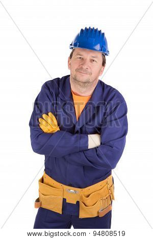 Worker in protective helmet