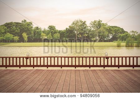 Wooden Terrace With Lake View