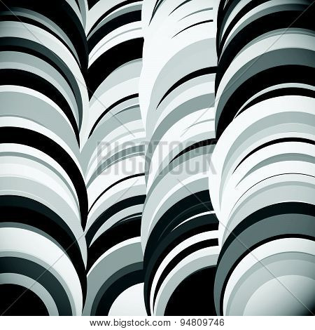 Overlapping Circle. Grayscale Artistic, Abstract Vector Background.