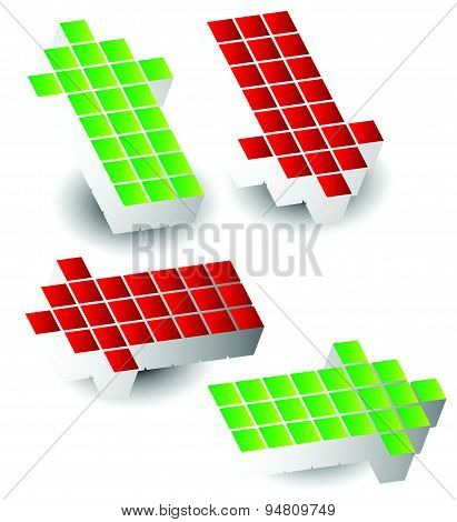 Set Of 4 Arrow Pointing Left, Right, Up, Down. 3D Arrows Made Of Cubes, Blocks.