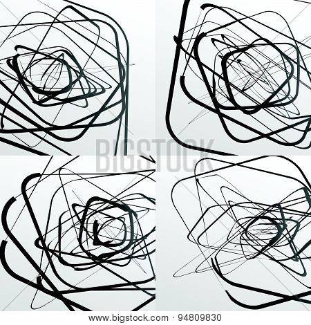 Artistic Abstract Vector. Random Rounded Squares. Set Of 4 Versions.