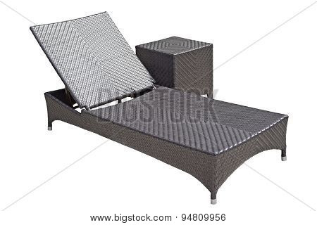Woven Wood Sunbed On White Background