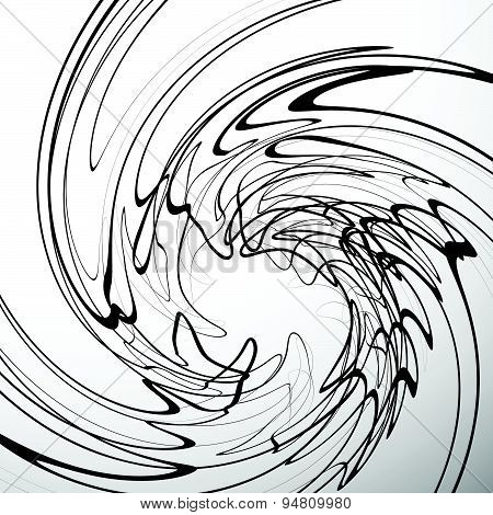 Swirling Abstract Vector Background, Swirling, Twirling Distortion Effect On Wavy Lines.