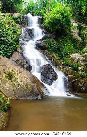 Huay Kaew Waterfall, Paradise Waterfall In Tropical Rain Forest