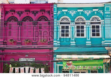 Colourful Shophouses On Phang Nga Road