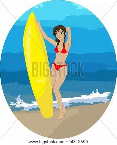Surfer girl on the background of the sea