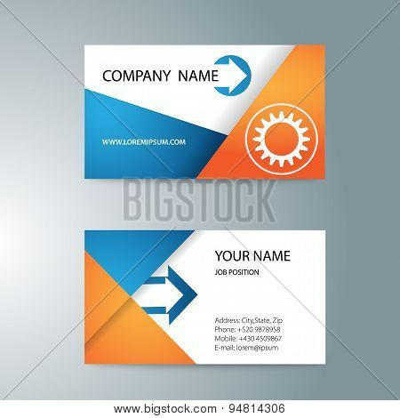 modern template double-sided business cards for printing with gear and arrows.
