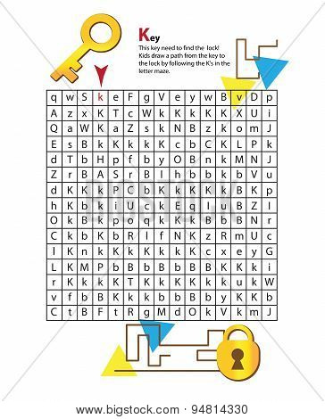 Letter Maze K. This worksheet helps kids recognize and name capital and lowercase letters.