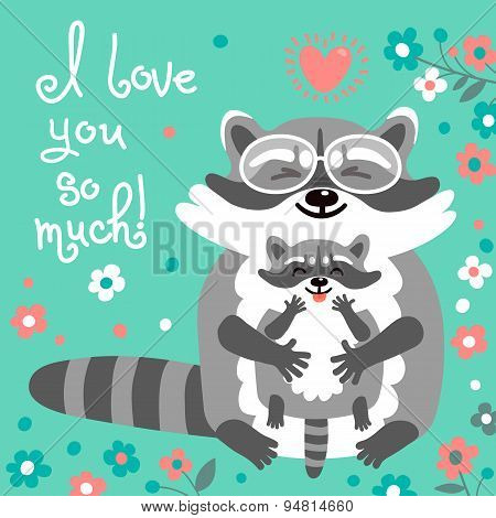 Card with cute raccoons and a declaration of love.