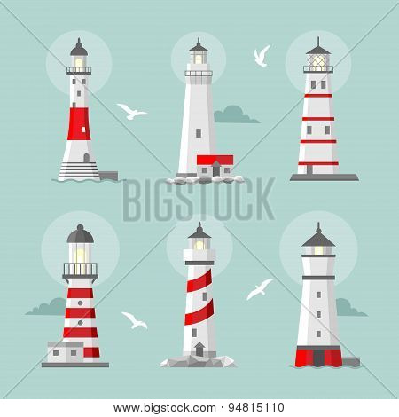Vector set of cartoon flat lighthouses