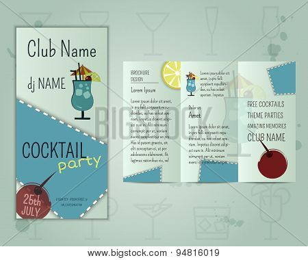 Summer cocktail party flyer layout template with blue lagoon cocktail and infographic elements. Fres