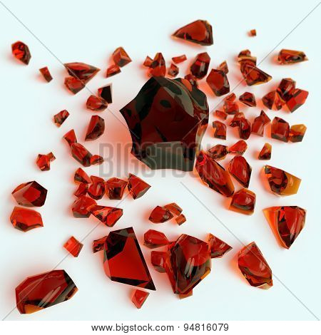 piece of amber on white background
