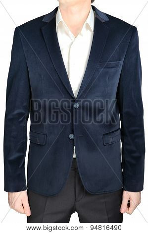 Velvet Blazer Wedding Groom Suit Jacket, Navy Blue, On White.