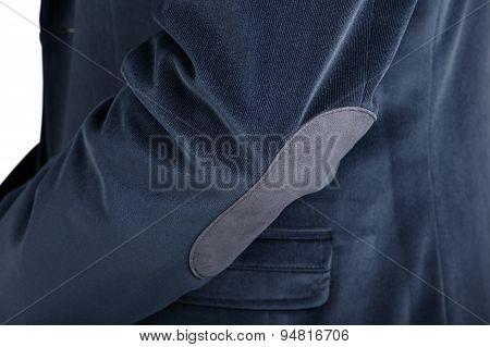 Close-up Velvet Navy Blue Mens Blazer, Isolated Over White.