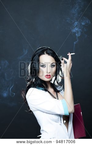 Attractive Doctor Smoking