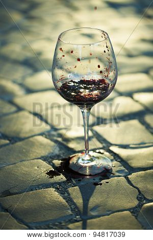Red Wine Poured In Goblet