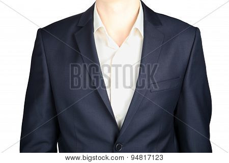 Close-up Of A Formal Dark Gray Blazer, Strict Dress, Isolated On White.