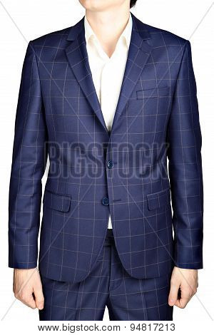 Navy Blue Suit Blazer Plaid Men Wedding Dress Bridegroom, Isolated