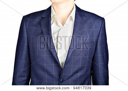 Dark Blue Checkerboard Suit Coat, Wedding Attire Groom, Over White