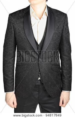 Black Patterned Wedding Bridegroom Suit, Without Tie, Isolated Over White.
