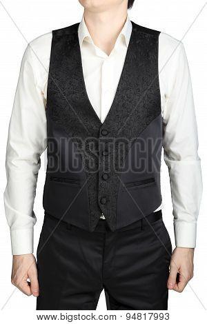 Black Patterned Vest Wedding Suit Bridegroom Isolated On White Background.