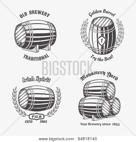 Set of vintage badge for beer house