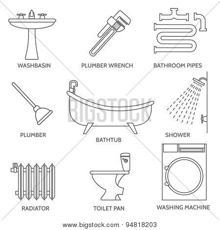 Vector pipeline plumbing icons in thin line style