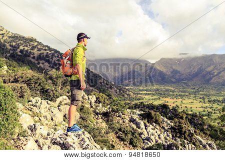 Hiking Man Looking At Beautiful Inspirational Landscape