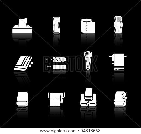 Vector set of towels, napkins and feminine hygiene products