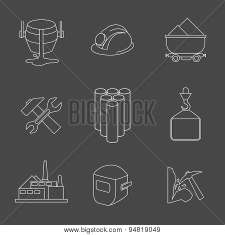 Vector set of heavy industry line icons