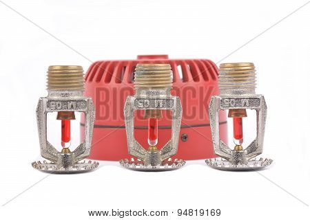 Fire Alarm Security, Heat Temperature With Sprinkler And Fire Siren In Blurry Background