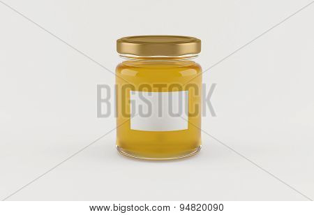 Jar with honey over white background