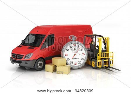 Cardboard Package Box With Stopwatch And Delivery Vehicle With Forklift Truck On The White Backgroun