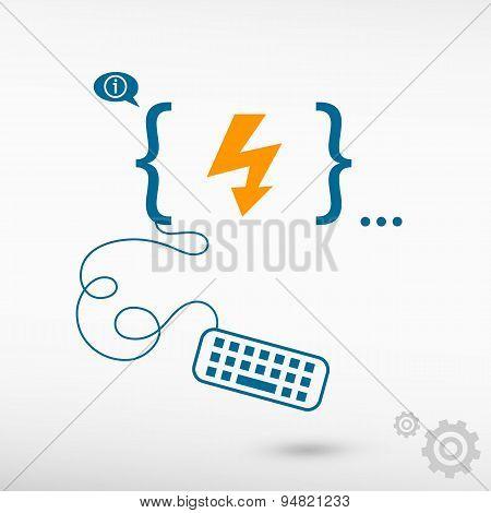 Lightning Icon And Flat Design Elements