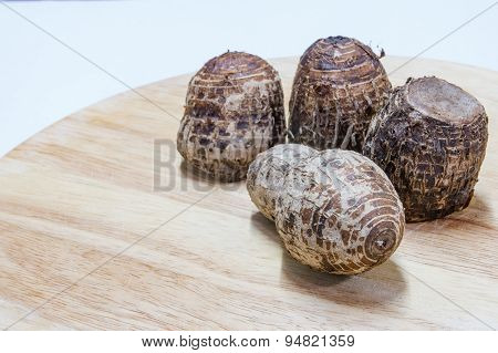 Cooked Taros On Wood Block