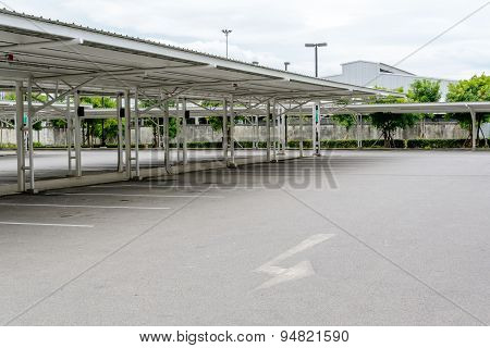 Outdoor Empty Car Parking Lot