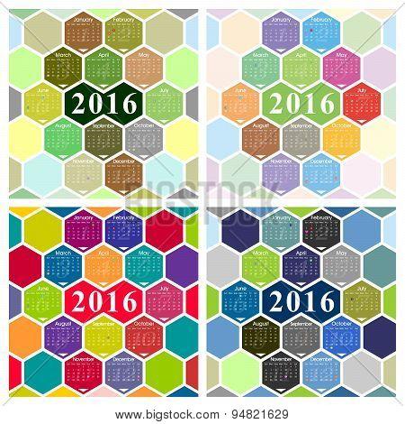 Vector 2016 calendar