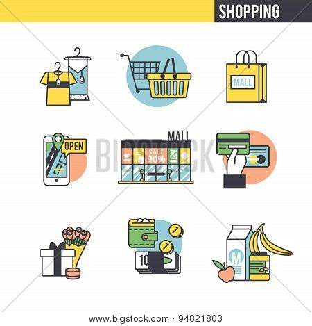 Shopping concept set.
