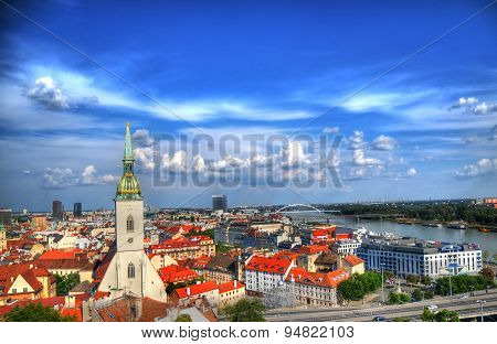 The View Of Bratislava On The Danube From The Fortress Hill In Hdr