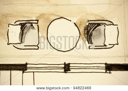 Freehand watercolor and ink floor plan illustration fragment of coffee table place