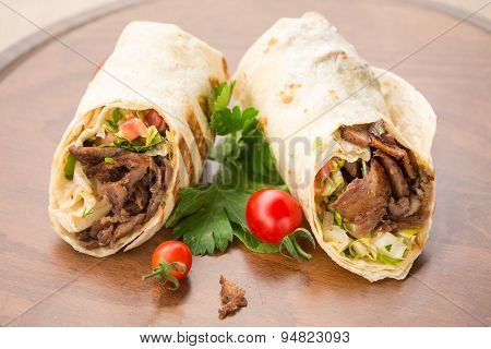 Doner Kebab On Wooden Background