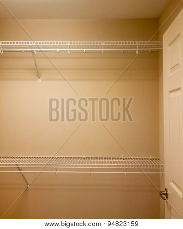 Wire Shelves In Empty Closet